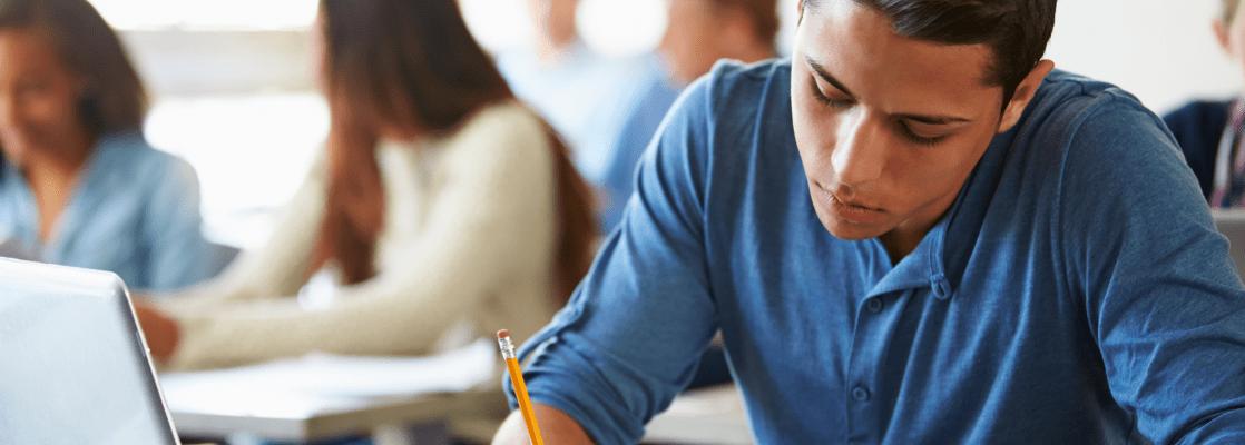 Student taking standardized reading test
